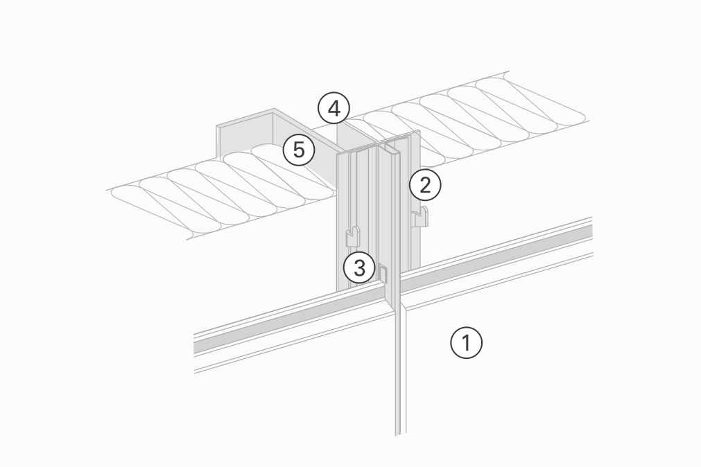 Sketch for mounting the base agraffe system on vertical substructure